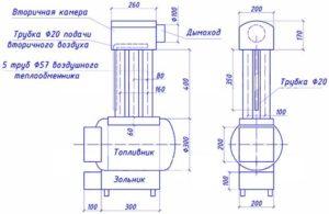 Батарея на дровах из газовых баллонов