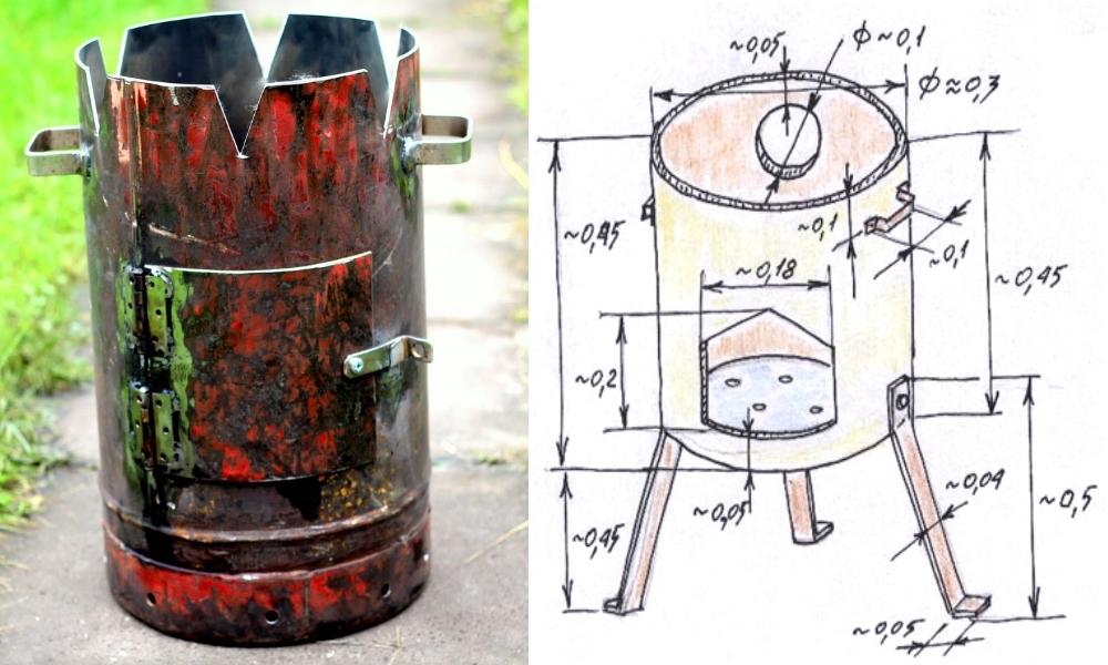 Как сделать печку для казана из газового баллона