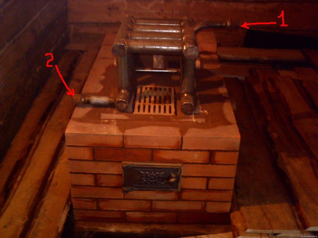 Печь кирпичная с котлом водяного отопления